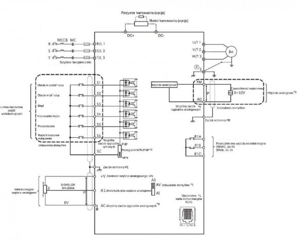 Schemat obwodu - falownik 1,5kW LiteON EVO600043S1D5E20F wektorowy