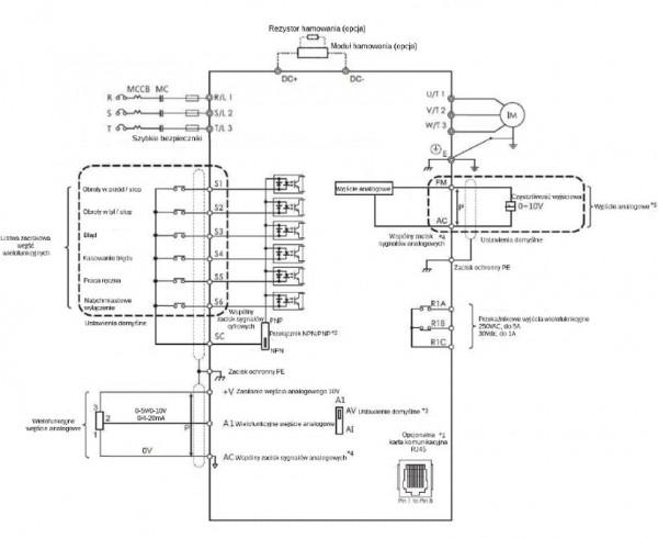 Schemat obwodu - falownik 2,2kW 1-fazowy LiteON EVO600021S2D2E20F wektorowy