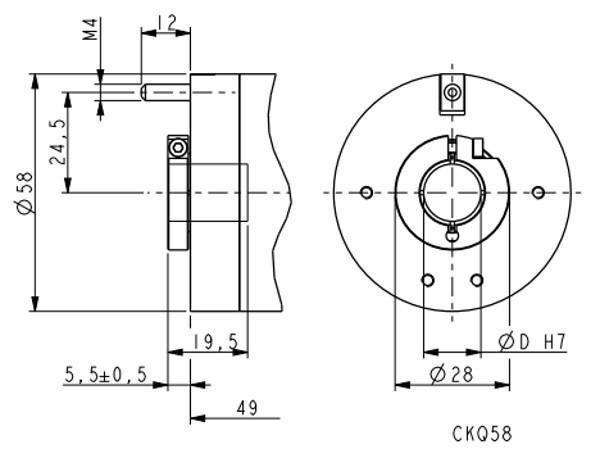 Wymiary - enkoder inkrementalny LIKA CKQ58-H-PROG-ZCZ415R, programowalny