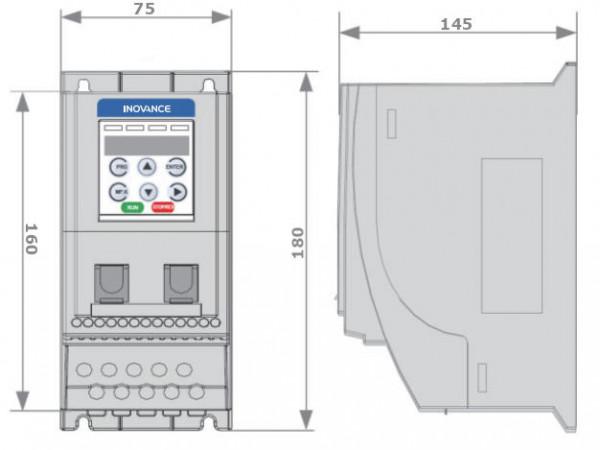 Wymiary - falownik 0,4kW 1-fazowy INOVANCE MD200S0.4B-INT
