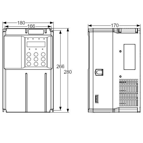 Wymiary - Falownik 15kW INOVANCE MD500T15GB-INT wektorowy