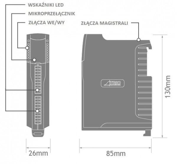 Wymiary - moduł 8 wejść analogowych 4 wyjścia analogowe CANopen Trio Motion - P326