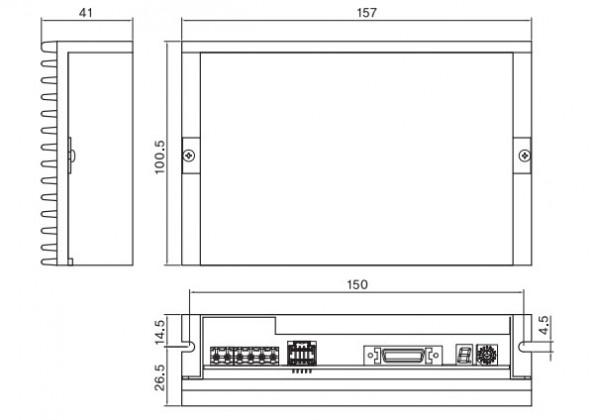 Wymiary sterownik - napęd serwo krokowy Fastech Ezi-Servo-PR-86L-A RS485 z pozycjonerem