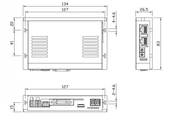 Wymiary sterownik napęd serwo krokowy Fastech Ezi-SERVOII-PE-60L-A
