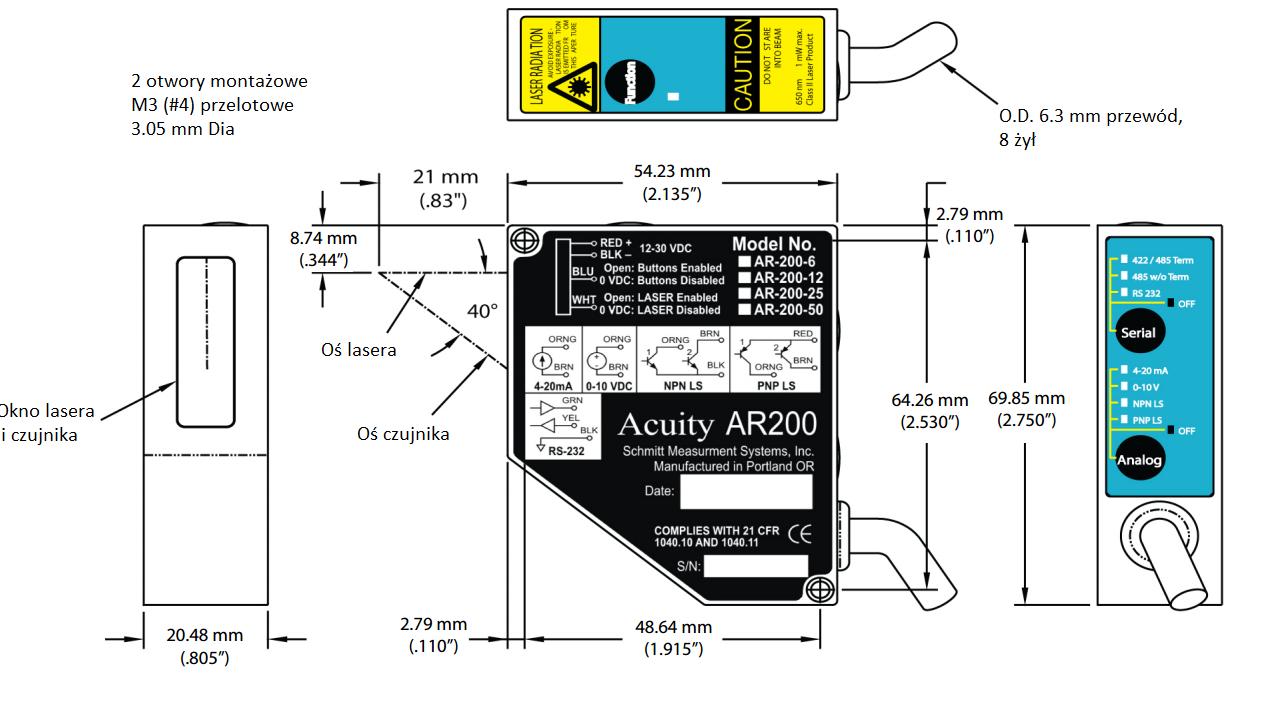 wymiary laserowy czujnik triangulacujny AR200