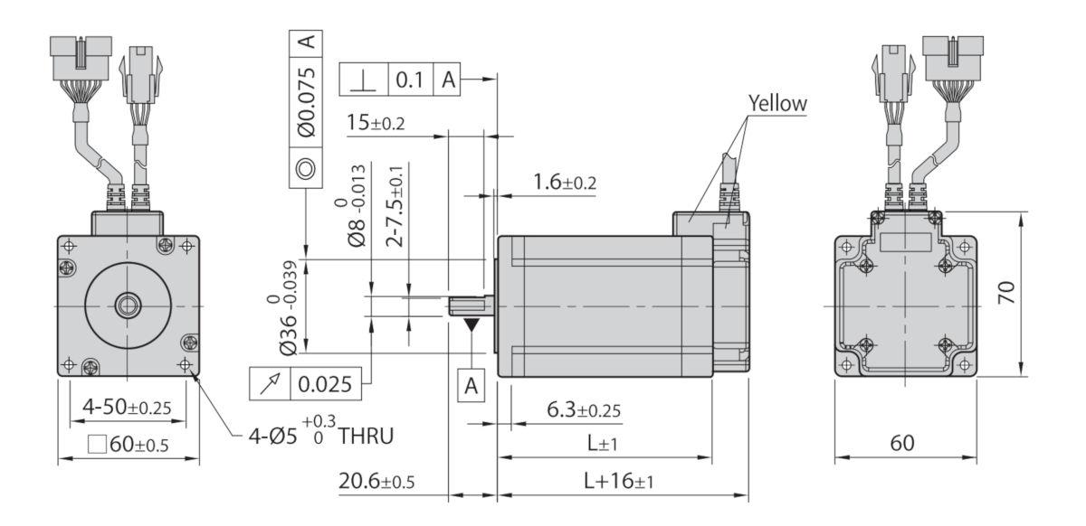 Wymiary silnik serwo krokowy Ezi-ServoII Plus-E