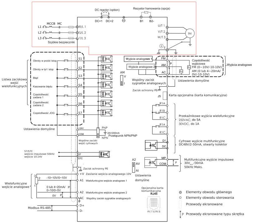 Schemat podłączeń falownik EVO6800