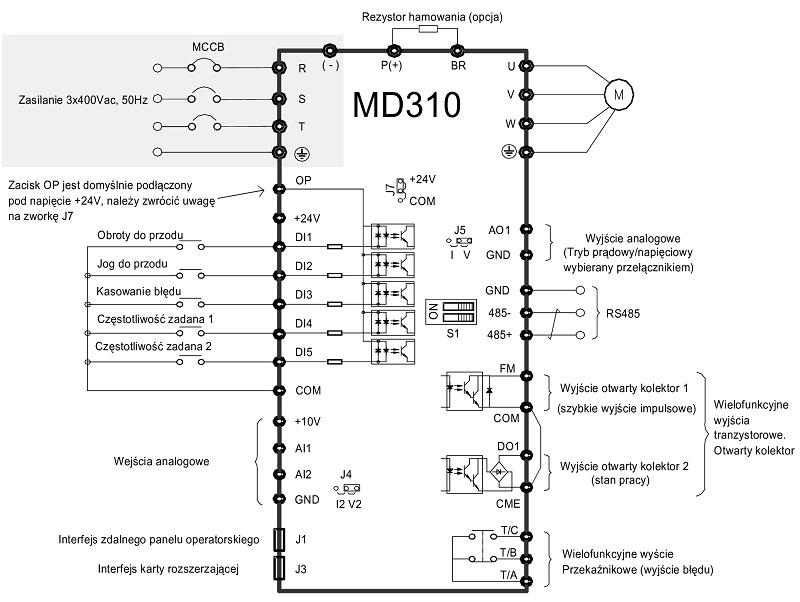 Falownik wektorowy INOVANCE MD310 - schemat podłączeń