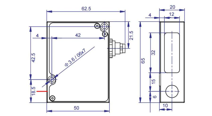 wymiary laserowy czujnik położenia AR500