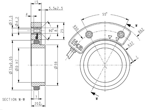 Wymiary - enkoder bezłożyskowy LIKA SGSM • SGSD
