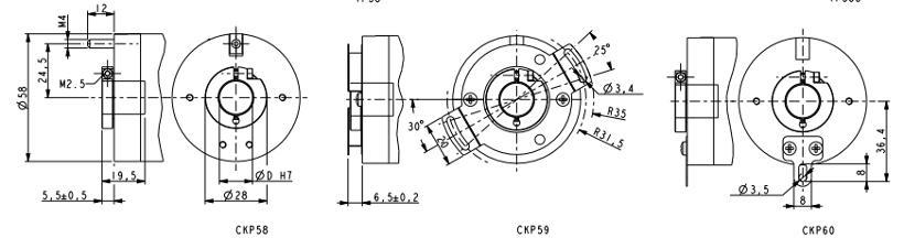 Wymiary - enkoder inkrementalny LIKA CKP58 CKP59 CKP60