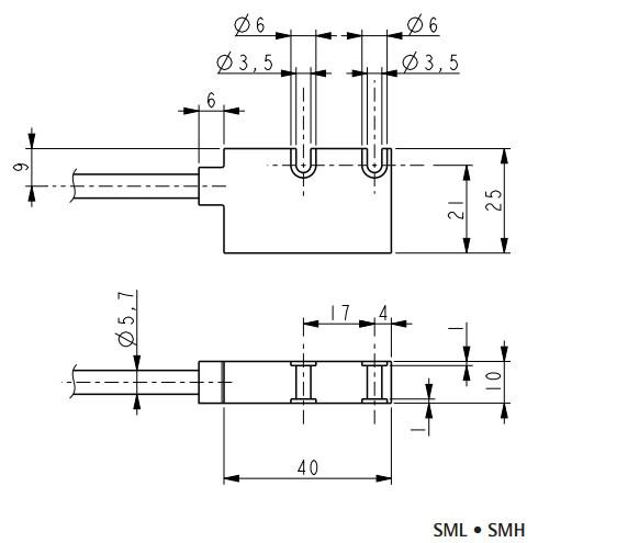 Wymiary - inkrementalny enkoder liniowy LIKA SML • SM