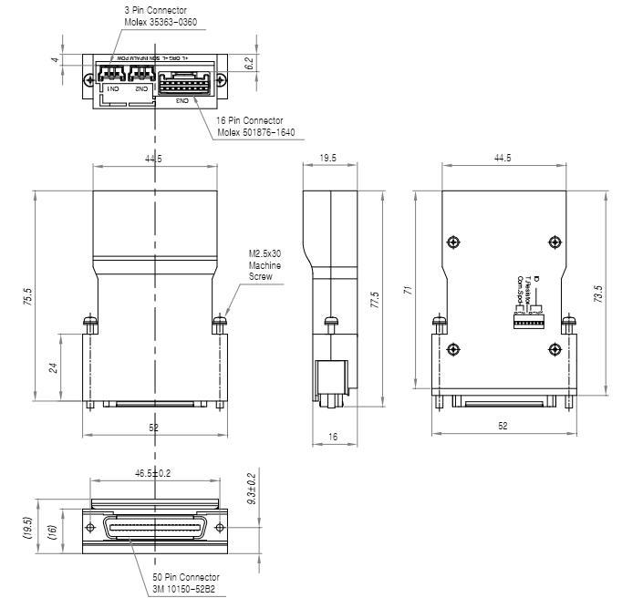 Wymiary przystawki komunikacyjnej Fastech Ezi-MotionLink PR RS-485
