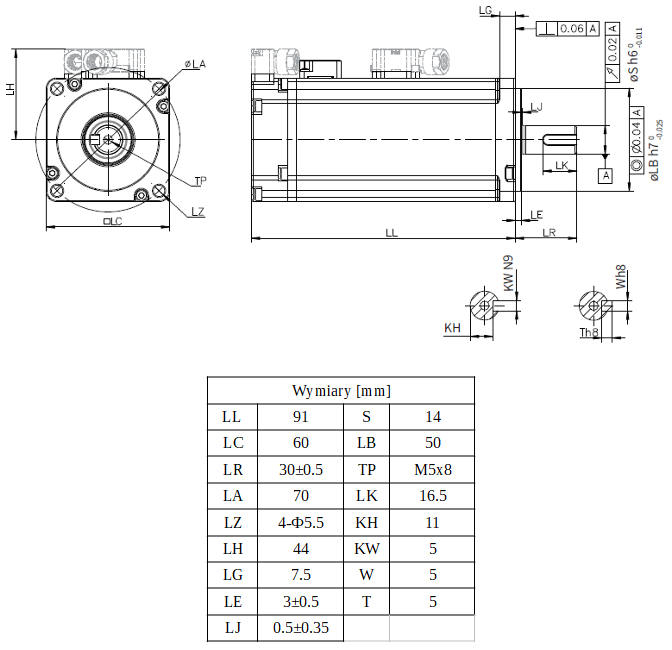 Wymiary - serwomotor 400W INOVANCE MS1H1-40B30CB-A331Z-INT